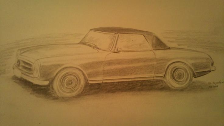 Mercedes_w113_Bleistiftzeichnung
